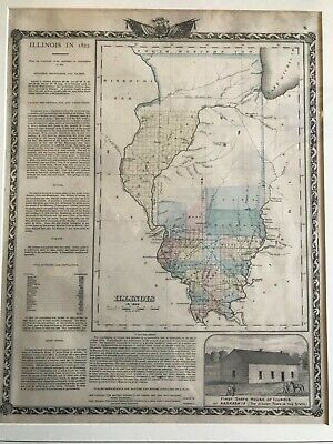 Antique Illinois In 1822 Map From Union Atlas Co 1876 Color Lithograph