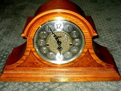 "EC Franz Hermle 18""L 10""H 6.5""D MED brown mantel DESK wood clock & key PERFECT"