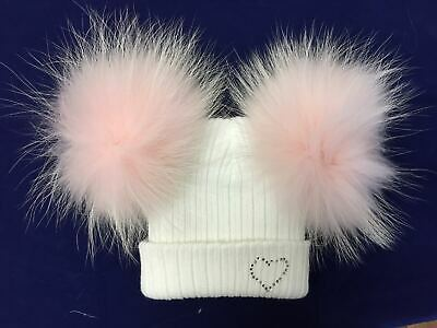 Wee Me Gorgeous Baby Girl Double Fur Pom Hat with Diamanté Cozy