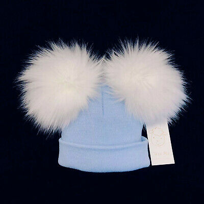 New Wee Me Gorgeous Baby Boy Blue Double Fur Pom Hat Mega Pom up to 3 Years