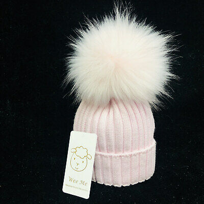 Gorgeous Baby Girl Infant Mega Pink Fur Pom Ribbed Hat 0-1 Year/1-3 Years