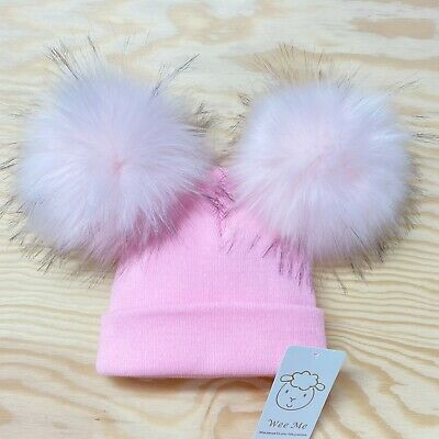New Arrival Wee Me Gorgeous Baby Girl All Pink Double Fur Pom Hat Mega Poms