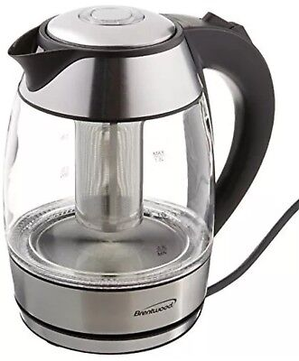 BRAND NEW Brentwood KT-1960RG 1.8L Cordless Glass Electric Kettle with Tea Infus