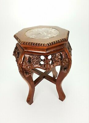 Small Chinese Hand Carved Wooden Flower Table Plant Stand E/0438