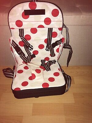 Travel Booster Seat White with red dots folds into light small bag