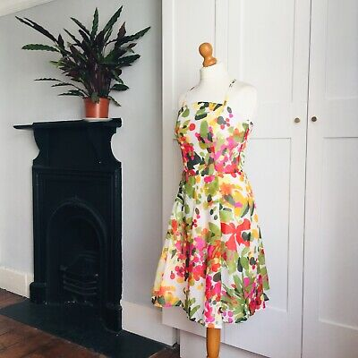 La Rochelle White Pink Red Green Yellow Abstract Floral Print Fit Flare Dress 10