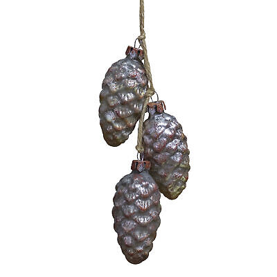 Northlight 7 Distressed Silver and Rust Glittery Pine Cones Christmas Ornament