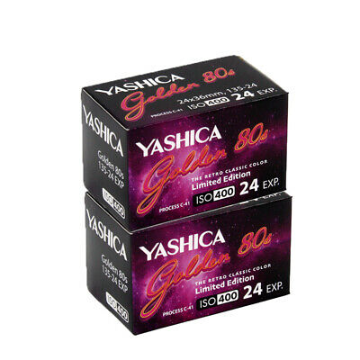 New 2 Rolls Yashica 400 35mm Golden 80s  ISO400 135-24EXP Color  Film  07/2021
