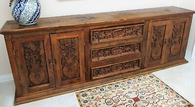 "Authentic Antique Large Sideboard - Buffet Mexican Furniture Hand Carved 120"" L"