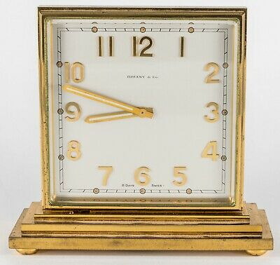 Antique TIFFANY PARTNERS DESK CLOCK Double Sided BRONZE  8 DAY SWISS CONCORD