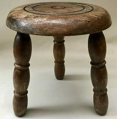 Vintage French Small 3 Leg Milking Stool With Turned Wood Legs & Circular Seat