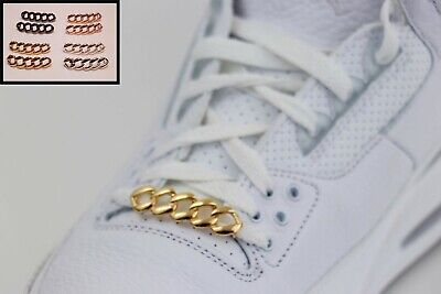 Pair of Shoelace Chains - Sneaker shoe lace Dubrae Charm Lace Tags Gold Silver +