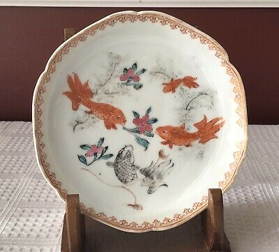 Rare Antique Chinese Export Porcelain Saucer With Handpainted Fish, Unmarked