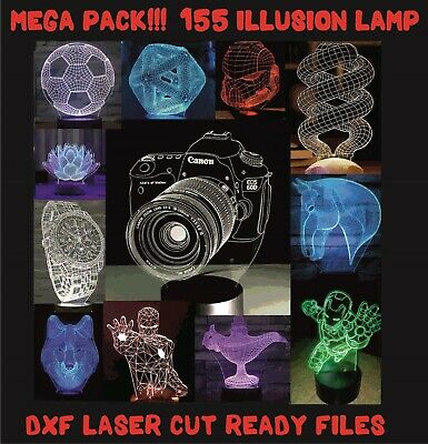 155+ DXF/CDR CNC // 3D illusion lamp files for laser, plasma cutter, waterjet