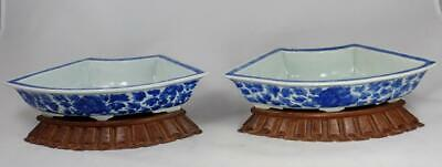 Antique Chinese Qing Dynasty Blue & White Porcelain Bulb Planters Wood Stands