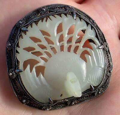 Antique Chinese Qing Dynasty Silver Carved White Jade Phoenix Bird Brooch Pin