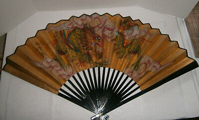 """30+"""" x 18"""" Oriental Fan Hand Painted Gold with Dragon Asian Wall Decor"""