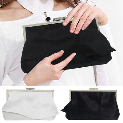 Ladies Satin Clutches Evening Bags Crystal Bling Handbags Wedding Party Purse