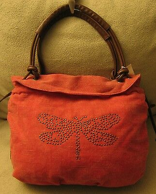 NWT NICA LONDON Medium Large Orange Denim & Brown Faux Leather Tote Shoulder Bag