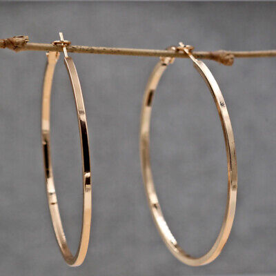 18K Gold Filled Earrings Big Polished Hoop Geometry Thin Circle Dangle Party L8
