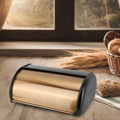 Gold Retro Metal Roll Lid Bread Bin Box Large Capacity Kitchen Storage Container