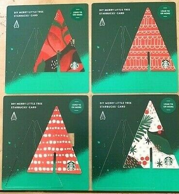 Set Starbucks 2019 Set Of Diy Merry Little Tree Holiday Gift Cards For All 4