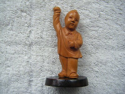 Chinese Cultural Revolution Carved Boxwood Figure of Boy Holding Apple