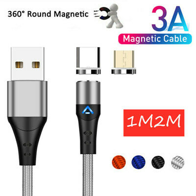 3 in 1 3A Magnetic Fast Charging Cable Micro USB Type C Charger Data Sync Lot