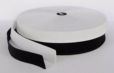 """Bulk Buy 1""""inch Black White Stretch Flat Woven Strong  Sewing Elastic 25 METER"""