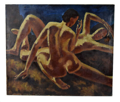 Depression WPA era 1930's Oil Painting Nudes by  Kenneth Shopen Chicago Artist