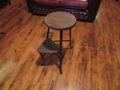 Vintage RARE Industrial Wood Metal Extra-Step Stool Shop Garage Mid Century