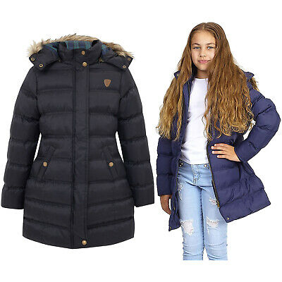 Girls Tartan Hooded Long Puffer Jacket Padded Coat Parka Puffa Fur Warm Quilted