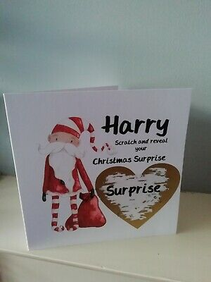 Personalised Christmas Card Scratch To Reveal,  Surprise, Santa, holiday trip