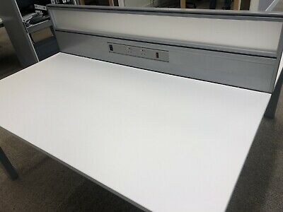 2 White Office Desks Back To Back With Screen And Electrics Furniture