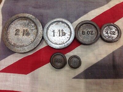 Antique Cast Iron Graduated Scale Weights Grocer/Pounds/Ounces.