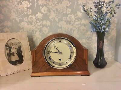 Stunning Top Quality Elliot Walnut Art Deco Westminster Chimes Clock Restored