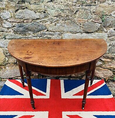 Absolutely stunning mid 19thC Large Solid Oak English Demi Lune table.