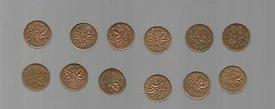 AK067:Canada Coin Lot of 12 King George VI One Cent Pennies
