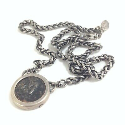 925 Sterling Silver Heavy Woven Chain with 7th Century Heraclius Byzantine Coin