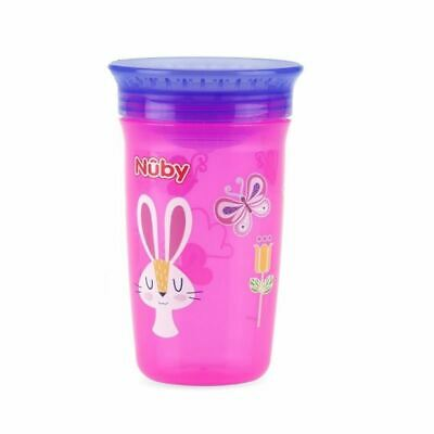 Nuby Active Sipeez 360 Degree Maxi Cup in Pink with Rabbit and butterfly 6m+ New