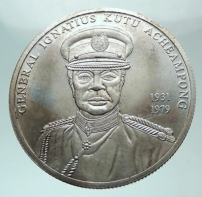 2002 GHANA General Acheampong Fantasy Issue Silver Genuine 100 Sika Coin i81510