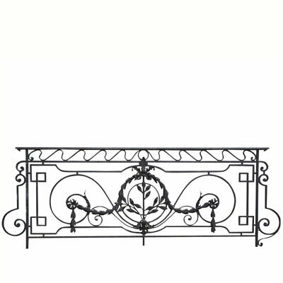 Antique Large French Louis XV Style Wrought Iron and Brass Balcony c. 1900