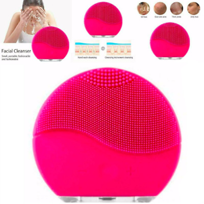 Sonic Facial Cleansing Brush Scrubber Silicone Electric Waterproof Face Cleaner