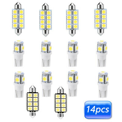 14x T10 43mm SUV Car Interior Map Dome LED Light License Plates Lamp Accessories