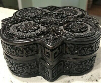 Chinese Carved Black Cinnabar Lacquer Covered Box w/Lid / Seal Mark