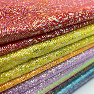 Iridescent Shiny Polyester Fabric Laser Holographic Stage Crafts Party 150cm DIY
