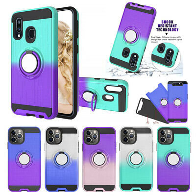 Shockproof Hard Armor Magnetic Ring Stand Cover Case For Samsung Galaxy Models