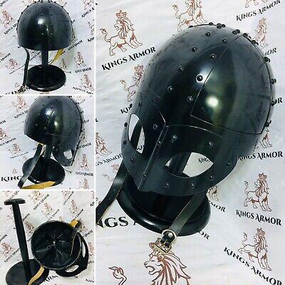Viking Mask Helmet - Medieval Deluxe With Black Finish -Knight Collectible LARP