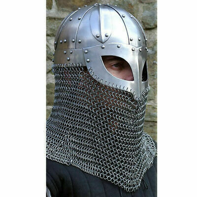 Viking Mask Helmet - Medieval Deluxe With Silver Finish -Knight Collectible LARP