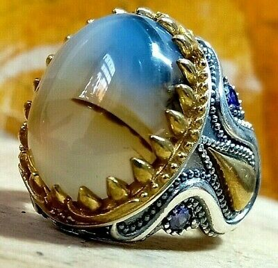 ALL SİZE Natural Stone Yemeni Agate Aqeeq Turkish 925 Sterling Silver Mens Ring